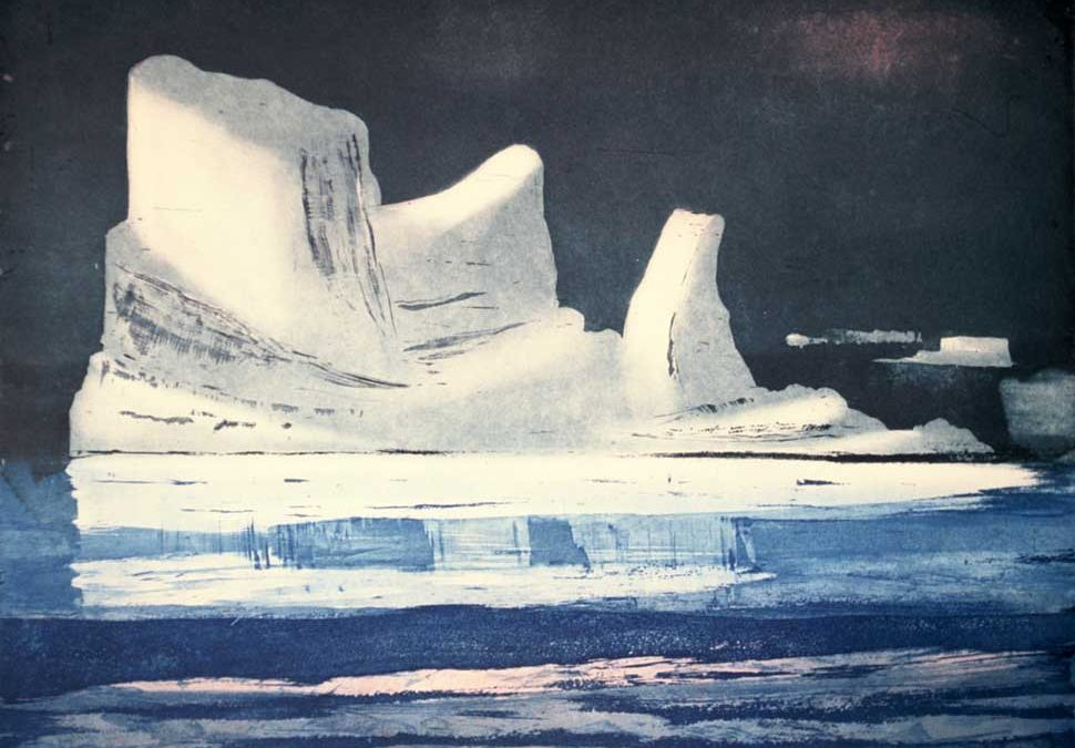 Artic Berg etching by Vincent Sheridan1990s