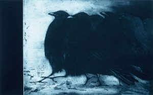 Corvids 1 etching by Vincent Sheridan 1990s