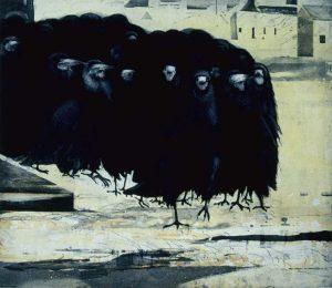 Exodus etching by Vincernt Sheridan1990s