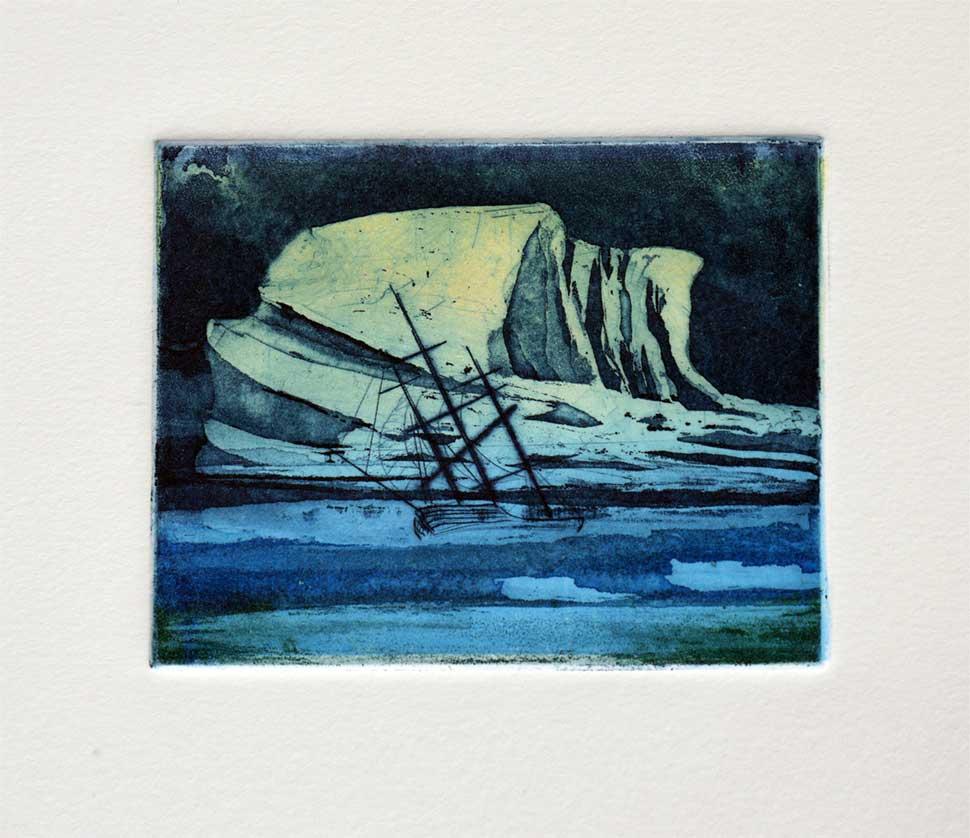 HMS Erebus  etching by Vincent Sheridan