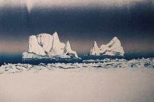 Ice Bergs Mono print by Vincent Sheridan 1990s