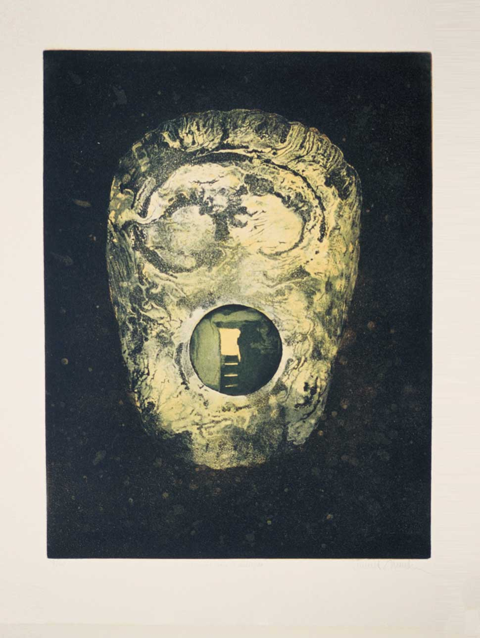 Mace Head etching by Vincent Sheridan 1980s