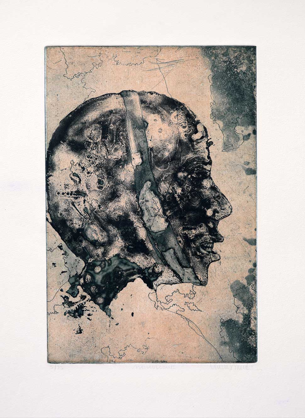Monologue etching and ink wash by VIncent Sheridan