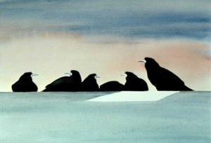 Rooks watercolour by Vincent Sheridan1980s