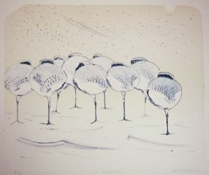Roost lithograph by Vincent Sheridan 1990
