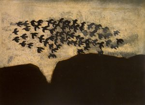 Vncent Sheridan print etching Autumn Ravens