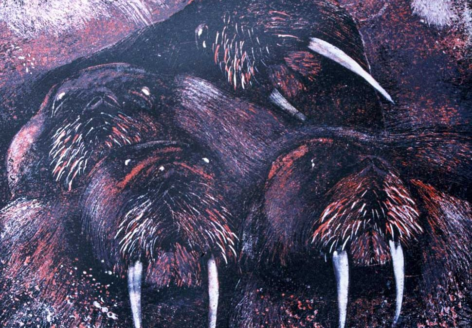 Walrus 1V relief print by Vincent Sheridan 1990JPG