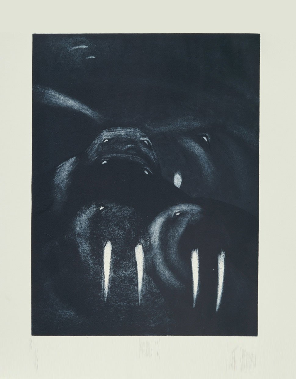 Walrus 2 etching by Vincent Sheiridan 1980s