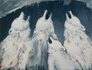 Wolf chorus etching bt Vincent Sheridan1980s