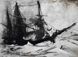 Frankilin Ship etching on zinc by Vincent Sheridan
