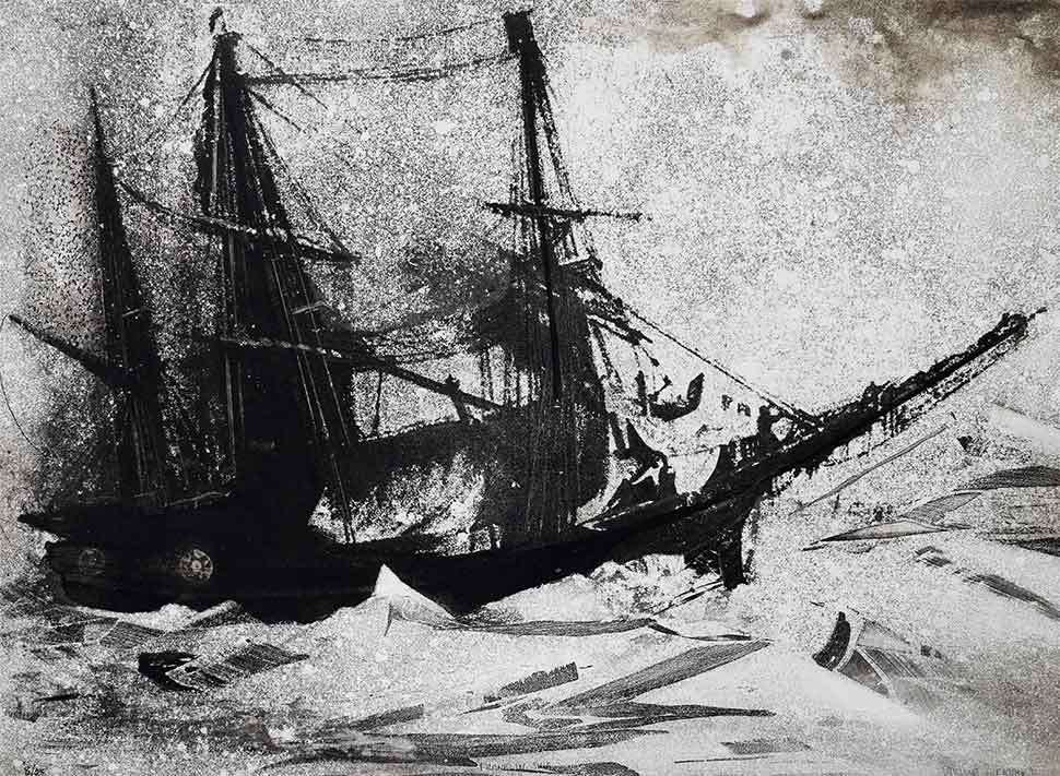 Frankilin Ship etching on zinc by Vincent Sheridan